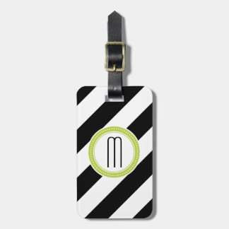 Diagonal Stripe Monogram Luggage Tag - lime
