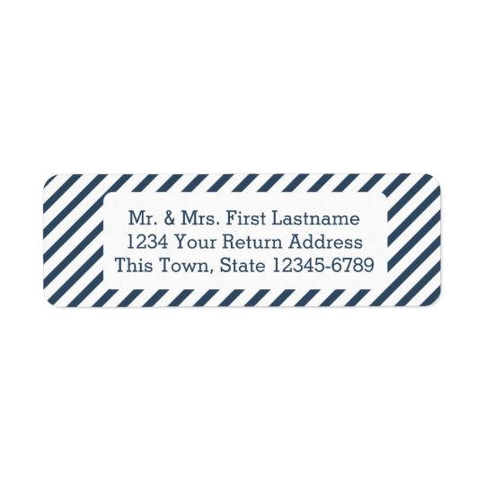 Diagonal Stripe Navy Blue Return Address Label