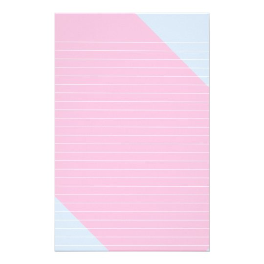 Diagonal Stripe of Pink on Blue Lined Stationery