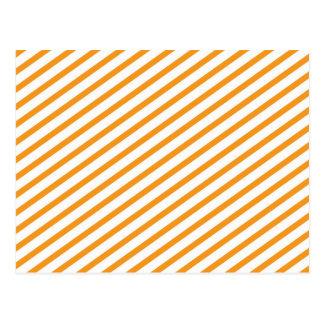 Diagonal Stripe Orange Pattern Postcard