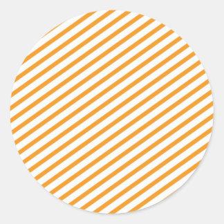 Diagonal Stripe Orange Pattern Round Sticker