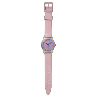 Diagonal Stripe Pattern (pink and purple) Wristwatches