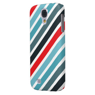Diagonal Stripe Pattern Red and Blue Striped Galaxy S4 Case