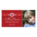 Diagonal Striped Monogram Christmas Photo Card