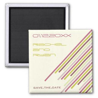 Diagonal Stripes   02 * Purple Dream   Save Date Square Magnet