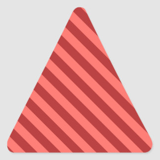 Diagonal Stripes 2 -Red 1-Pastel Red and Firebrick Triangle Sticker