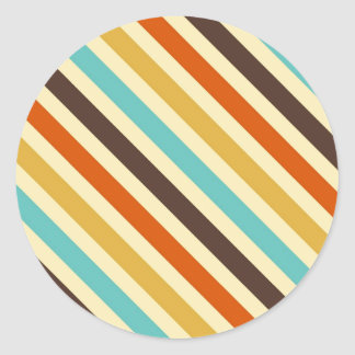 Diagonal Stripes 4 Retro Colors Blue Yellow Red Round Sticker