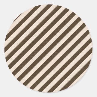 Diagonal Stripes - Almond and Cafe Noir Round Sticker