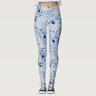 Diagonal Stripes Blue Ink Splatter Leggings