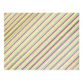 Diagonal Stripes Colorful Postcards