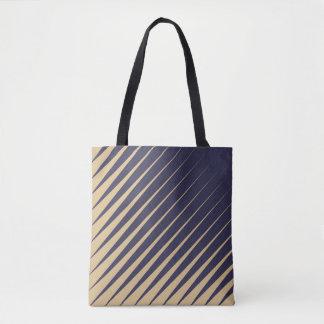 Diagonal Stripes - Eggplant and Peach Tote Bag