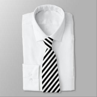 Diagonal Stripes in Black and White Tie