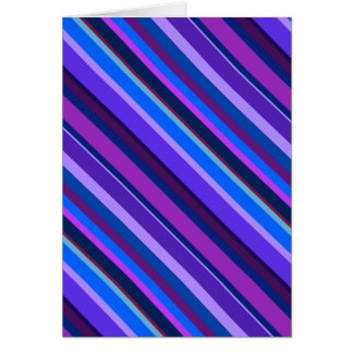 Diagonal stripes in blue and purple greeting card