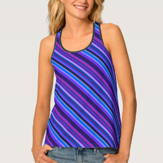 Diagonal stripes in blue and purple tank top