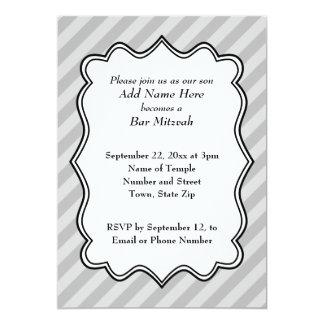 Diagonal Stripes in Gray Bar Mitzvah 13 Cm X 18 Cm Invitation Card