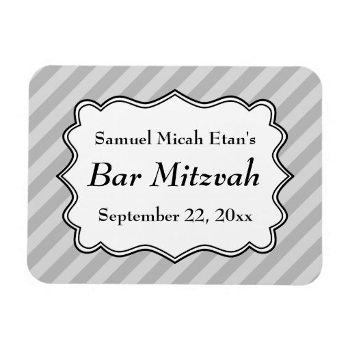 Diagonal Stripes in Gray Bar Mitzvah Vinyl Magnets