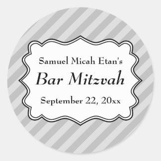 Diagonal Stripes in Gray Bar Mitzvah Stickers