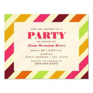 Diagonal Stripes Party Invitation