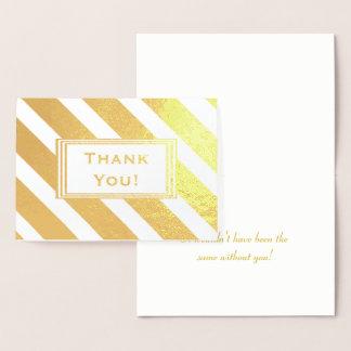 Diagonal Stripes Pattern Thank You Foil Card