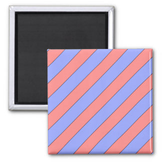 diagonal stripes pink and purple square magnet