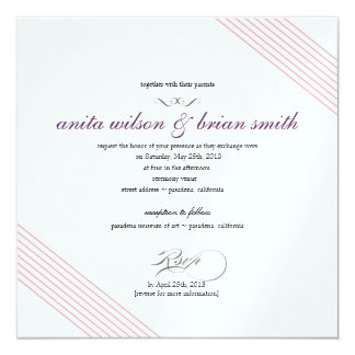 Diagonal Stripes Wedding Invitation Modern