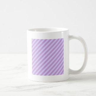 Diagonal Stripes Wisteria and Pale Lavender Coffee Mugs