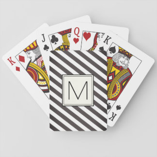 Diagonal stripes with monogram square playing cards