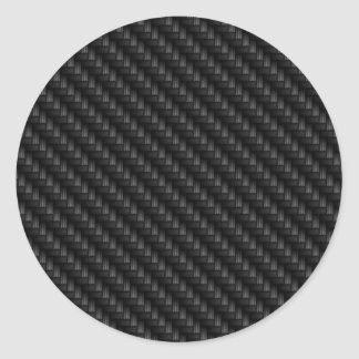 Diagonal Tightly Woven Carbon Fiber Texture Round Stickers