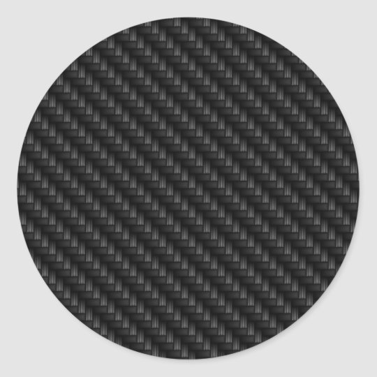 Diagonal Tightly Woven Carbon Fibre Texture Classic Round
