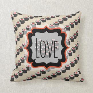 Diagonal Tuna Rolls with Custom Text Cushion