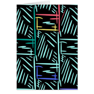 Diagonal Turquoise Slashes Memphis Abstract Card