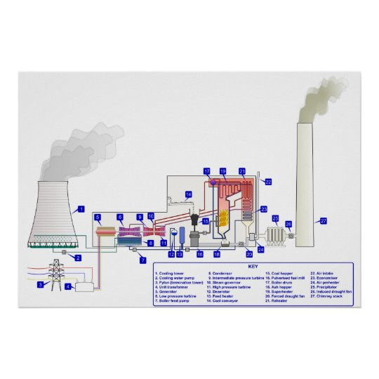 Diagram of a Coal Fired Thermal Power Station