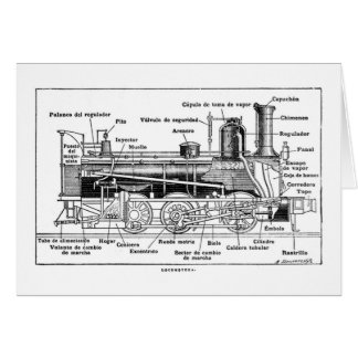 Diagram of Steam Engine Greeting Card
