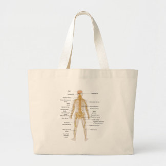 Diagram of the Human Body's Nervous System Large Tote Bag