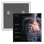 Diagram of the respiratory system and the heart 15 cm square badge