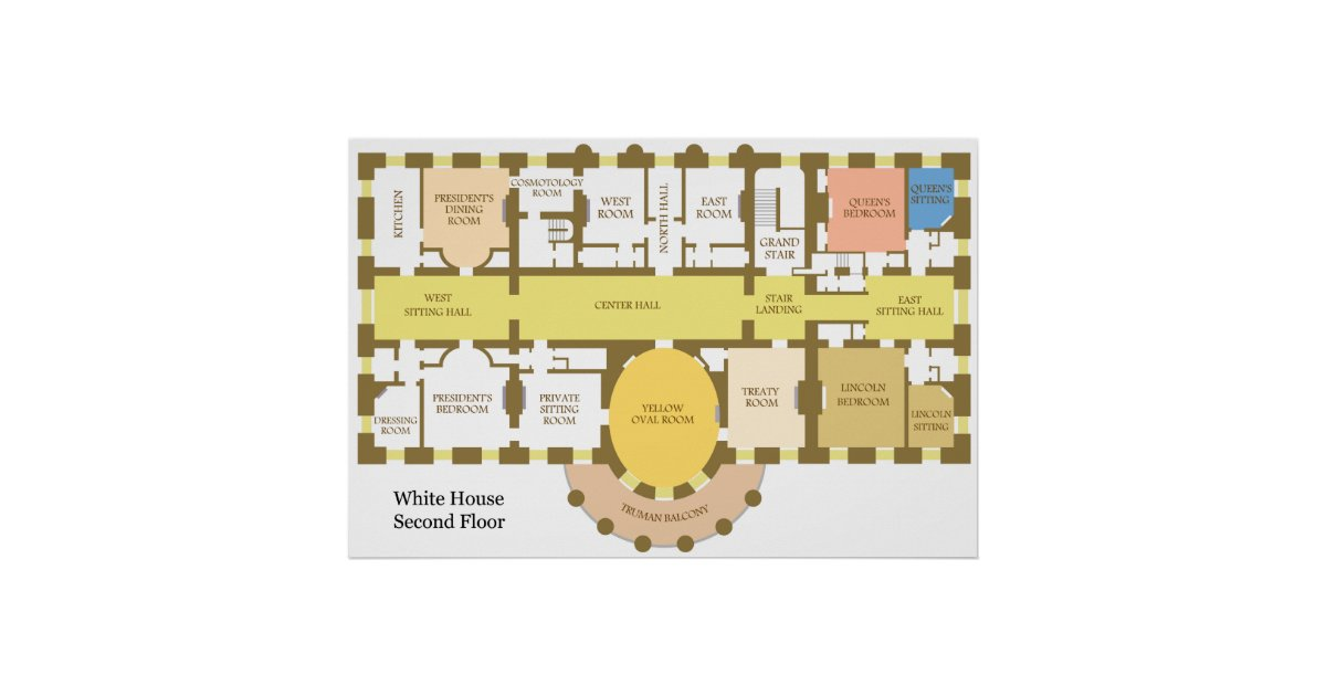 Diagram of the Second Floor of the White House Poster
