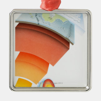 Diagram showing layers of the earth, close-up. christmas ornament