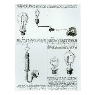 Diagrams of lightbulbs and their brackets postcard