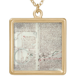 Diagrams of measurements and text (vellum) gold plated necklace