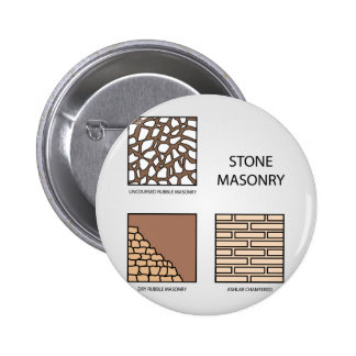 Diagrams of stone masonry 6 cm round badge