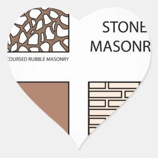 Diagrams of stone masonry heart sticker