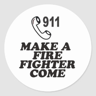 DIAL 911 FIRE CLASSIC ROUND STICKER