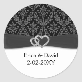 diamante damask charcoal wedding round sticker