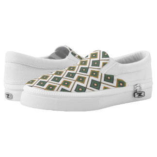 Diamante in green slip on shoes