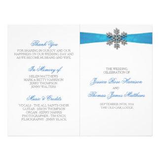 Diamante Snowflake & Blue Ribbon Winter Wedding 21.5 Cm X 28 Cm Flyer