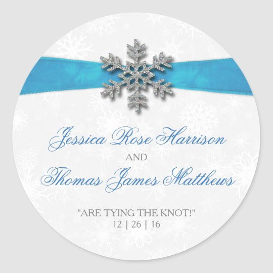 Diamante Snowflake & Blue Ribbon Winter Wedding Classic