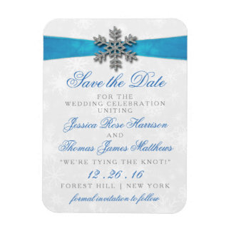 Diamante Snowflake & Blue Ribbon Winter Wedding Magnet