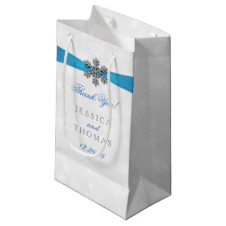 Diamante Snowflake & Blue Ribbon Winter Wedding Small Gift Bag