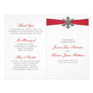 Diamante Snowflake & Red Ribbon Winter Wedding 21.5 Cm X 28 Cm Flyer