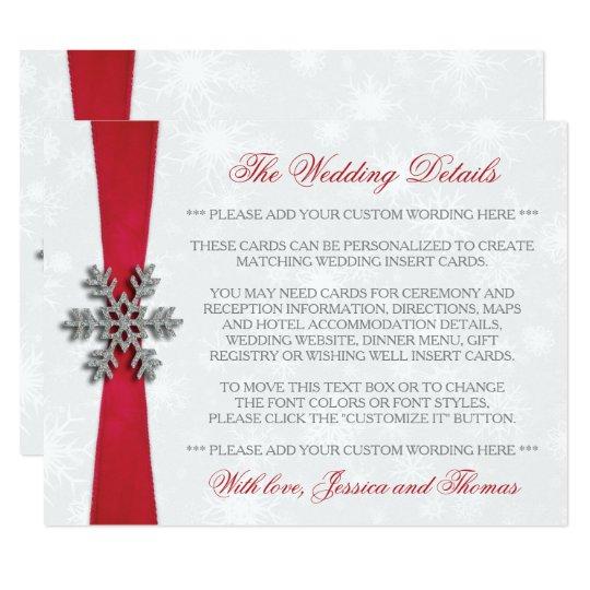 Diamante Snowflake & Red Ribbon Winter Wedding Card